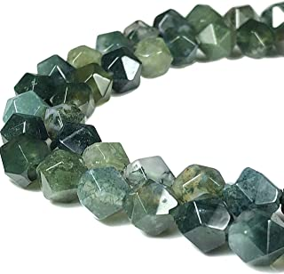 [ABCgems] Oregon Moss Agate 8mm Precision-Star-Cut Beads for Beading & Jewelry Making