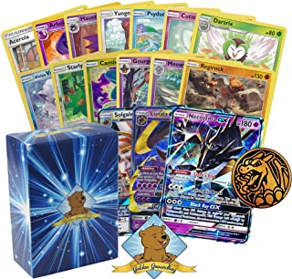 Golden Groundhog Pokemon Sun & Moon Series Legendary GX Lot - 100 Pokemon Card Lot with 1 Sun & Moon Series GX! Rares Foils and Coin! Includes Deck Box!