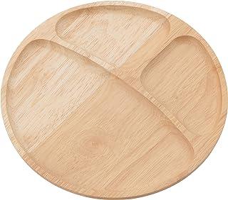 不二貿易 ランチプレート ラウンド 直径23.5cm ナチュラル 仕切り 天然木 割れにくい 軽量 木製 食器 96196