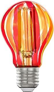 EGLO Lámpara LED E27, bombilla vintage, rojo/naranja, LED pintado, 6,5 W, 500 lúmenes, E27, luz blanca cálida, 2700 K, bombilla LED A60, diámetro de 6 cm, 12568
