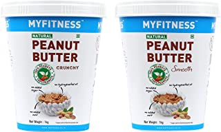 MYFITNESS Gold Natural Peanut Butter Crunchy 1Kg (Unsweetened) + MYFITNESS Gold Natural Peanut Butter Smooth 1Kg (Unsweete...