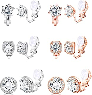 Yadoca 6 paia di orecchini a clip per donna con zirconi cubici orecchino senza foro rotondo quadrato orecchini a clip set ...