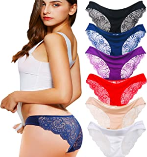 2e4b4cd2e5c3 Kingfung 3-6 Pack Women's Invisible Seamless Bikini Underwear Half Back  Coverage Panties