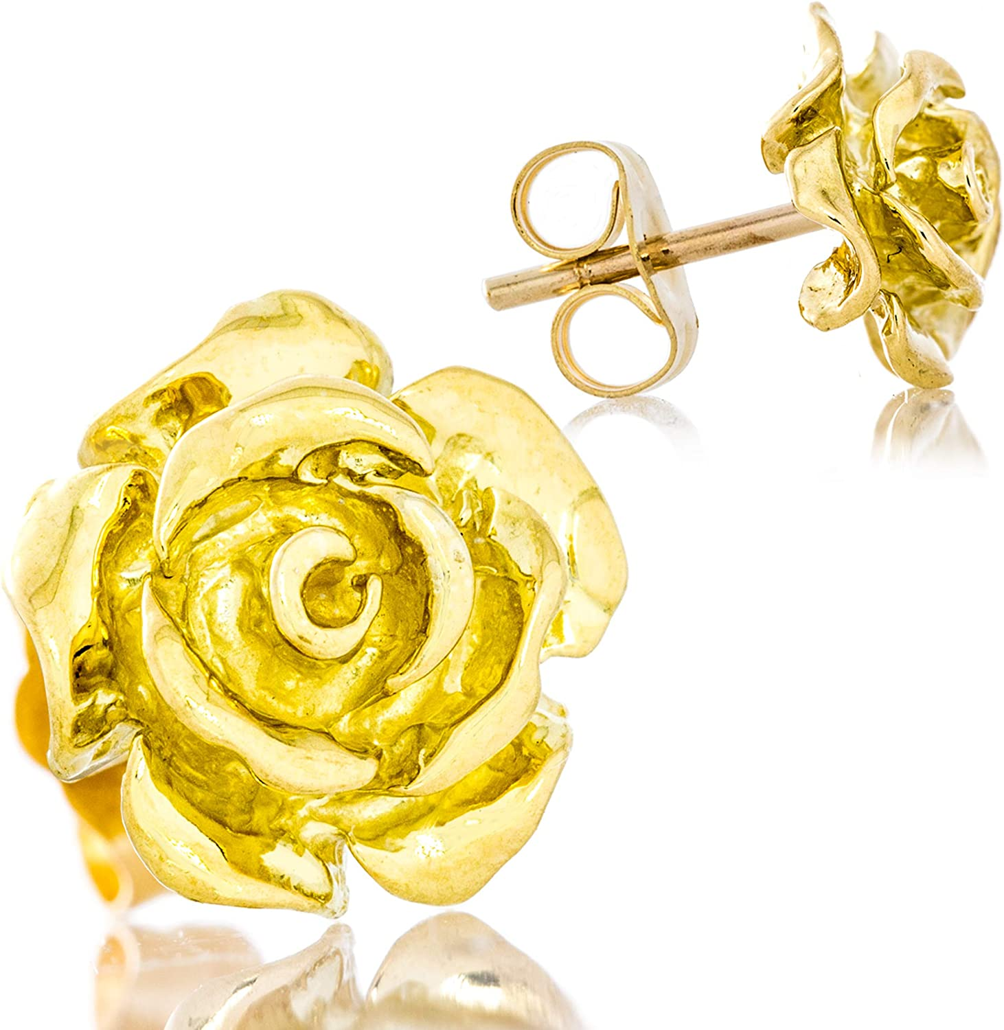 Solid 18K Yellow Gold Rose Flower Stud Earrings Handcrafted style 3/8 inch with Post and Friction Back | 2.6g