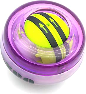 Afoxon Power Wrist Ball, Wrist Force Trainer Forearm Exerciser, Wrist Strengthener Workout Ball, Stress Retraction Ball, Toy Spinner Gyro, Colorful LED Lights Auto Start 2 Gen (Purple with Lights)