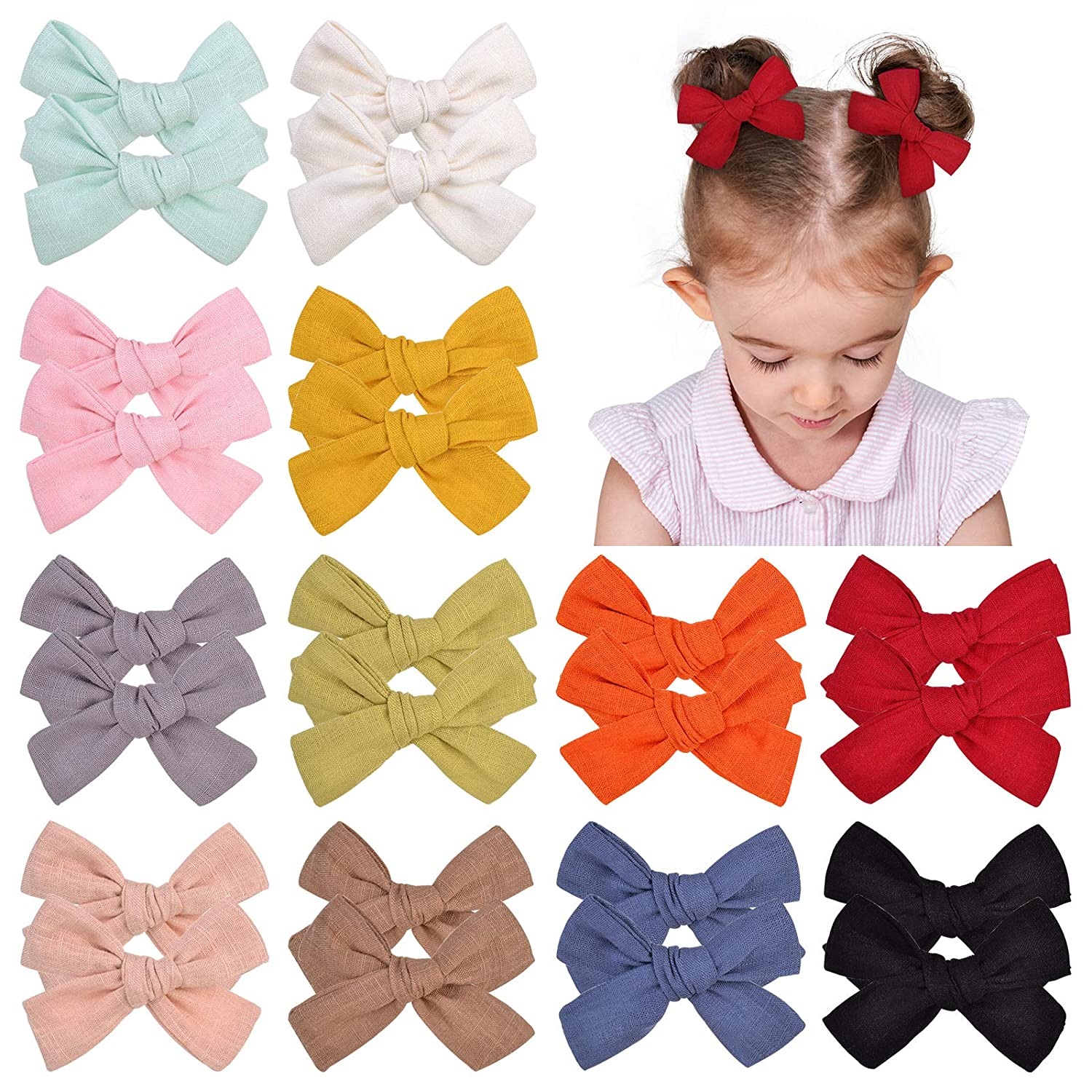 Seattle Mall 24pcs Baby Girls 3.6 Inches Hair Fully Bow Barrettes Seasonal Wrap Introduction Clips Lined
