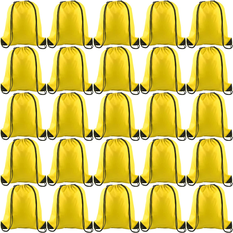 KUUQA 25Pcs Yellow Drawstring Backpack Bulk Drawstring Bags String Backpack Cinch Gym Backpack for Gym Sport Traveling