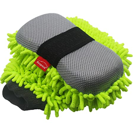 Idearsen Car Wash Mitt Double Sided Large Size Wash Mitt(Green) Waterproof Chenille Microfiber Premium Scratch-Free Car Wash