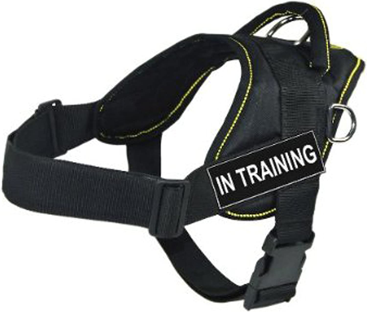 Dean & Tyler DT Fun Works Harness, In Training, Black with Yellow Trim, XLarge  Fits Girth Size  34Inch to 47Inch