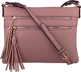 a2120e595d22 B BRENTANO Vegan Multi-Zipper Crossbody Handbag Purse with Tassel Accents