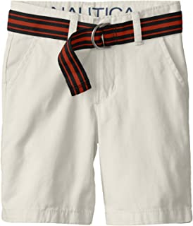 Nautica Boys' Classic Belted Flat Front Short - Brown - 7