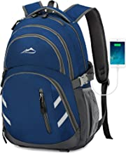 Backpack Bookbag for School College Student Business Travel with USB Charging Port Fit Laptop Up to 15.6 Inch Blue Blue Medium