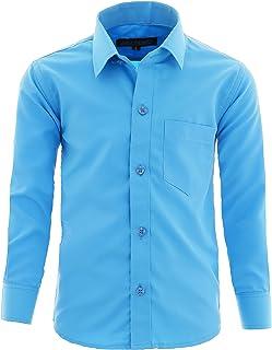 GILLSONZ A1vDa - Camisa de manga larga para niños, fácil de planchar, 9 colores, tallas 86-170