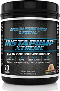 Instapump Xtreme All-in-One Pre Workout Powder with L-Citrulline, Bcaa's, Creatine Monohydrate, Betaine Anhydrous, Agmatine Sulfate and More Amazing Taste Rainbow Sherbet 20 Servings