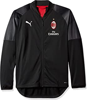 PUMA Men's Standard AC Milan Stadium Poly Jacket with Sponsor Logo, Black/Tango red, M