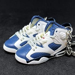Pair Air Jordan VI 6 Retro Olympic Navy Blue White OG Sneakers Shoes 3D Keychain 1:6 Figure