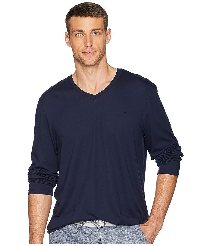 Calvin Klein Long Sleeve Jersey V-Neck T-Shirt (Cadet Navy) Men