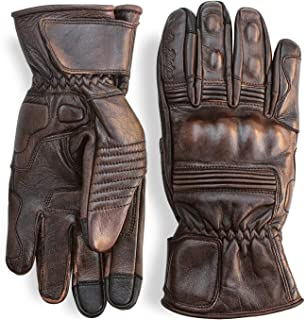 Premium Leather Motorcycle Gloves (Brown) Cool, Comfortable Riding Protection, Full Gauntlet with Mobile Touchscreen Fingers (XX-Large)