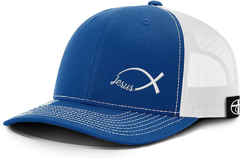 One True God Jesus Fish Ichthys Lower Left Back Mesh Hat for Christians Baseball Cap