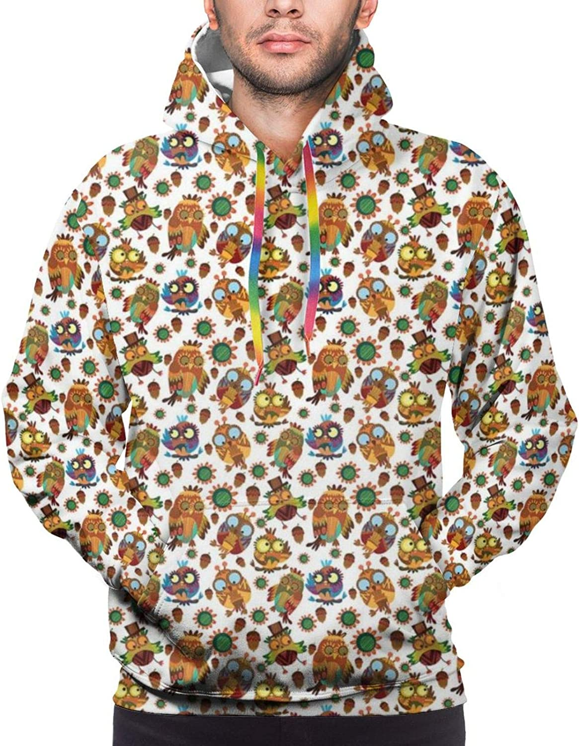 Men's Hoodies Sweatshirts,Abstract and Artistic Stylized Funny Birds with Flowers and Acorns Repetition,Small