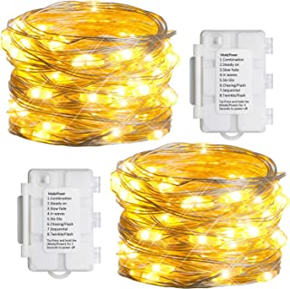 Koopower 2 Pack 16ft 50 LEDs Fairy Lights Battery Operated, Dimmable Firefly Lights ,8 Modes Copper Wire String Lights Wat...
