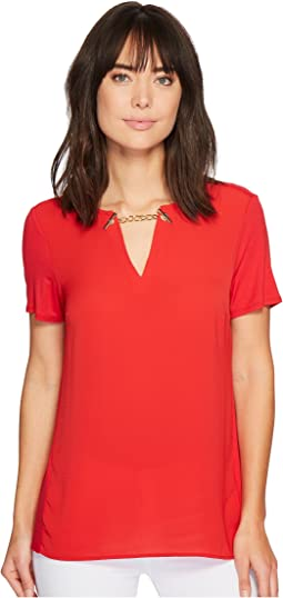 MICHAEL Michael Kors - Woven Mix Short Sleeve Chain Top