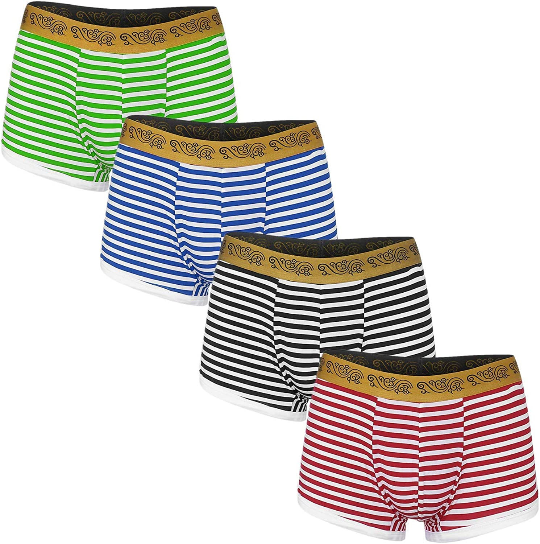 Men's Classic Boxer Briefs Stripe Pattern Pouch Regular Leg Low Waisted Mid Hip