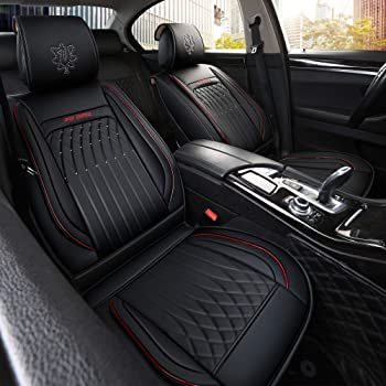 INCH EMPIRE Car Seat Cover Easy to Clean Synthetic Leather-Adjustable Car Seat Cushion Fit for Sedan SUV Hatchback Tr...