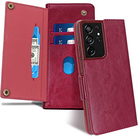 """FYY Case for Samsung Galaxy S21 Ultra 5G 6.8"""", [Magnetic Closure] Luxury Leather Wallet Case Flip Folio Cover with [Front Card Slots] for Galaxy S21 Ultra 5G Wine Red"""