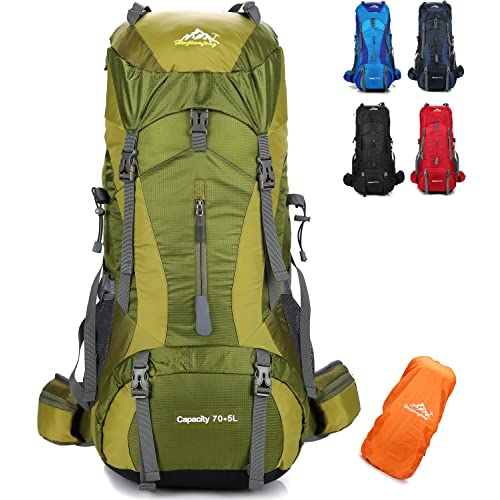 onyorhan 70L+5L Backpack Travel Trekking Hiking Camping Climbing  Mountaineering Rucksack for Men Women 6dd99a4738836