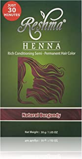 Reshma Beauty 30 Minute Henna Hair Color Pure Natural & Organic Dye infused with Goodness of Herbs (Burgundy)
