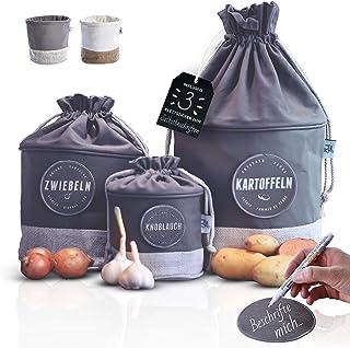 Glückstoff Boîte de rangement en tissu [inscriptible] Pots de pommes de terre, oignons, ail | Récipient de rangement | Pan...