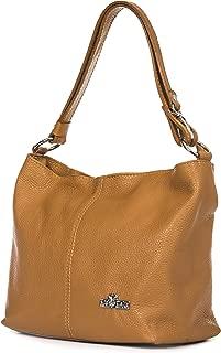 Bolso bandolera para mujer (piel italiana, tamaño mediano, correa larga ajustable), color Marrón, talla Medium