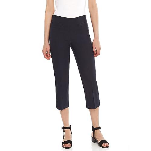 87ca5be59882e0 Leveret Women s Pants Pull on Comfort Fit Dress Capri Pants (Size ...