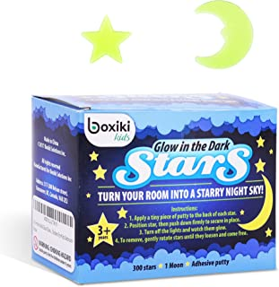 Boxiki Kids Pack of 300 Glowing Stars & Moon   Fluorescent Ceiling Stars for Kids   Estrellas Fluorescentes para Niños   Glow Moon and Stars Set for Bedrooms and Nurseries