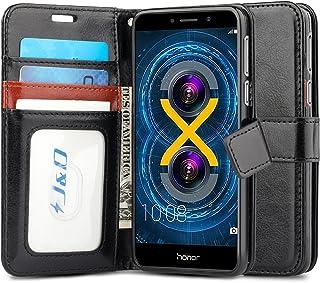 J&D Compatible para Honor 6X Funda, [Protección de Cartera] [Soporte Plegable] Funda Pesada Resistentes Billetera para Huawei Honor 6X Funda Cuero - Negro