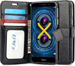 J&D Case Compatible for Huawei Honor 6X Case, [Wallet Stand] [Slim Fit] Heavy Duty Protective Shock Resistant Flip Cover Wallet Case for Huawei Honor 6X Wallet Case - Black