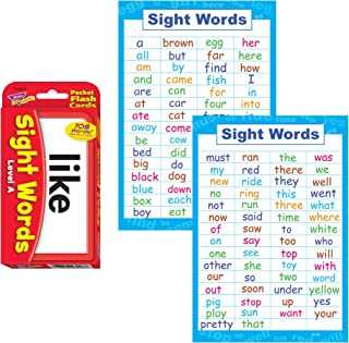 Sight Words Flash Cards and Poster Set - Pre K and Kindergarten Basic Sight Words , High Frequency Word Flashcards Dolch and Fry For Kids Learning How To Read