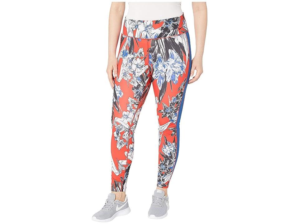 Nike One Tights Hyper Femme (Sizes 1X-3X) (Team Orange/Black/Reflective Silver) Women