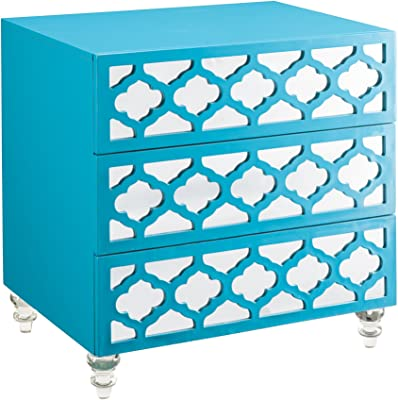 "Iconic Home Salvadore Stylish Accent Furnishing Modern Mirrored Lacquer-Finish Lucite Leg Side Table, 28""X20""X28"" Turquoise"