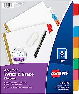 Avery Big Tab Write & Erase Dividers, 8 Multicolor Tabs, 1 Set (23079)