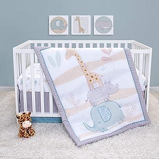 Sammy & Lou Safari Babies 4 Piece Crib Bedding Set for Boys or Girls | Gray Gender Neutral Jungle Theme Baby Nursery Décor...