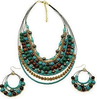 DCA Multicolor Wood Glass Necklace Set for Women