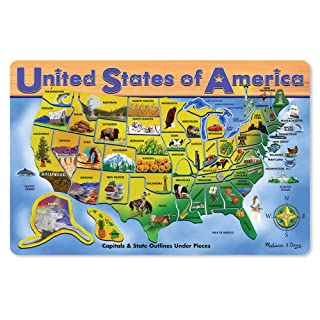 Melissa & Doug Wooden USA Map Puzzle (Wipe-Clean Surface, Teaches Geography & Shapes, 45 Pieces, 18.2? H × 11.6? W × 0.45? L, Great Gift for Girls and Boys - Best for 5, 6, 7 Year Olds and Up)