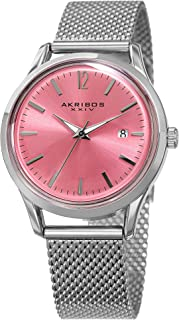 Women's Fashion Colorful Quartz Watch - Sunburst Dial - Featuring a Stainless Steel Bracelet - [ AKN930 ]