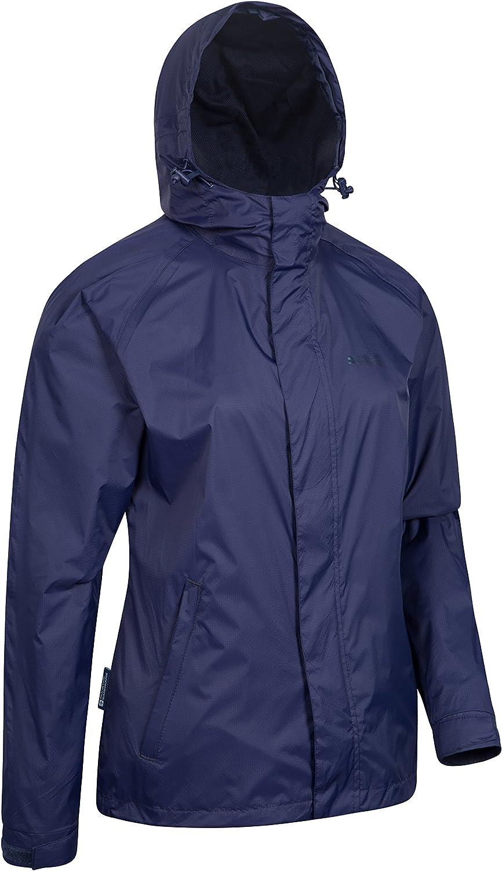 Mountain Warehouse Torrent Jacke für Damen - Wasserfeste Regenjacke, Leichter Mantel, versiegelte Nähte, Damenjacke mit Taschen - Ideal für Reisen, Camping, Frühling Marineblau