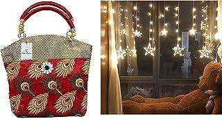 Kuber Industries Women's Handbag (Maroon,Par007605) & 138 Led Curtain String Lights with 8 Flashing Modes Decoration(12 St...