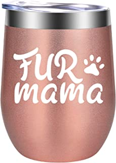 Fur Mama - Cat, Dog Gifts for Women - Funny Cat, Dog Themed Birthday, Pet Bday, Christmas Gifts for Dog Lovers, Cat Lovers, Dog Mom, Cat Mom, Dog Owner, Animal Lovers, Fur Mom - GSPY Wine Tumbler Cup