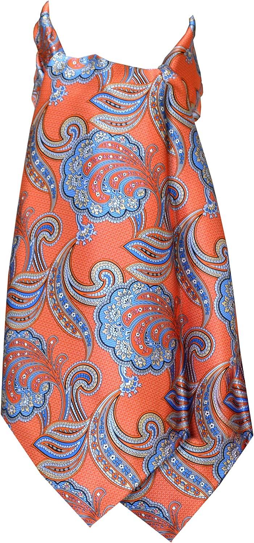 Remo Sartori Made in Italy Men's Orange Paisley Self Cravat Ascot Tie Day Tie, Silk