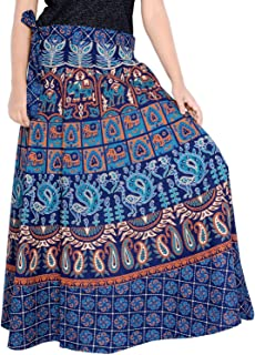 Rajvila Women's Cotton Printed 38 Inch Length Regular Wrap Around Long Skirt(F_W38NT_0005)